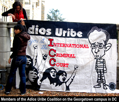 Members of the Adios Uribe Coalition on the Georgetown Campus in Washington