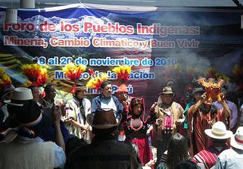 Indigenous Peoples' representatives at the Lima Forum on Mining, Climate Change and Well-being