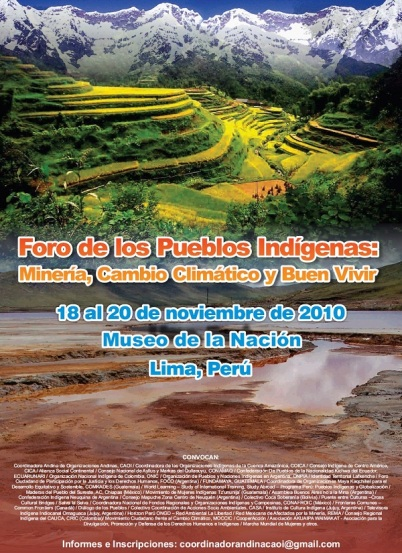 Poster for Lima Conference on mining and indigenous peoples