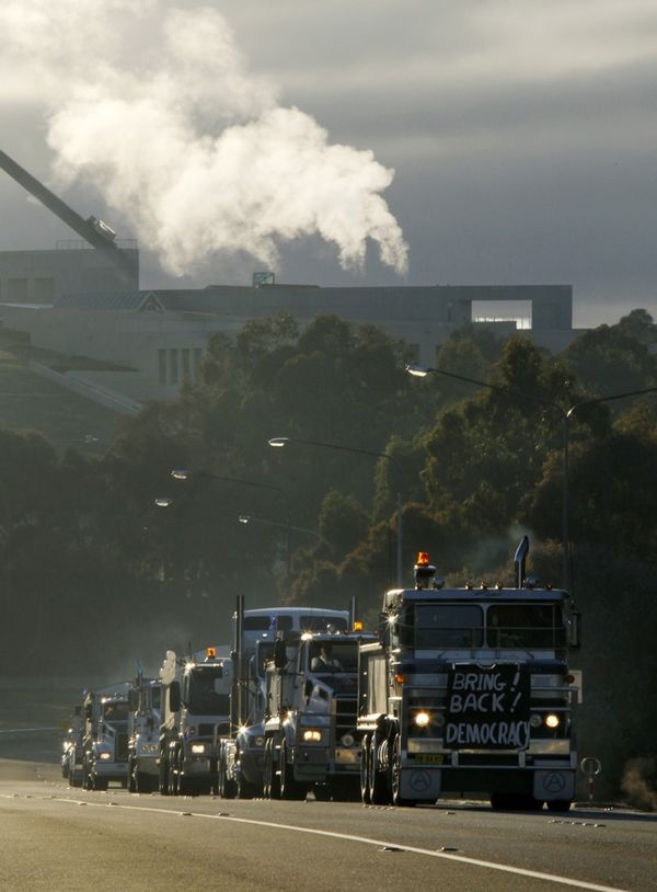 A convoy of trucks protesting against the Australian government's proposed carbon tax drive