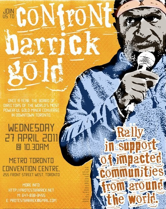 Protest poster for Barrick AGM 2011