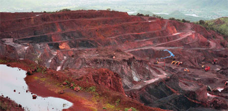 Iron ore mine in Bellary, India