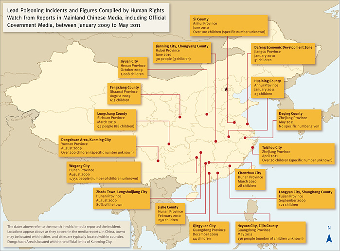 Map of lead poisoning in China