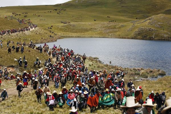 Protest against Newmont's proposed Conga gold mine, near the Cortada lagoon