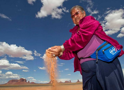Elsie Mae Begay, Navajo elder backdropped by Monument Valley