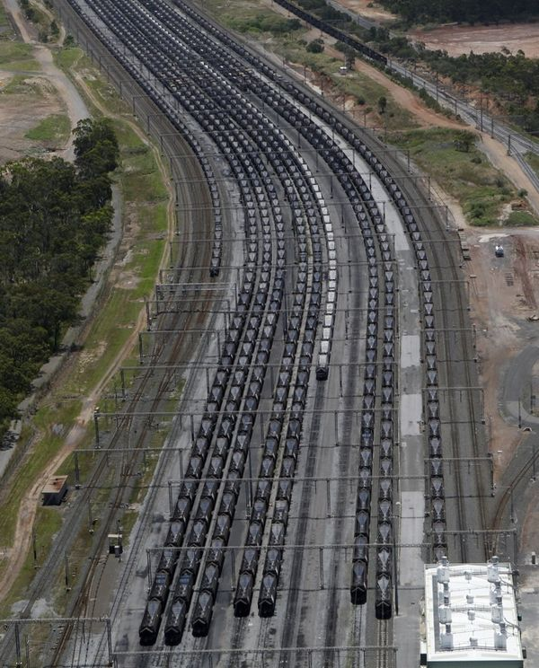 Coal trains are grounded at Gladstone in floods