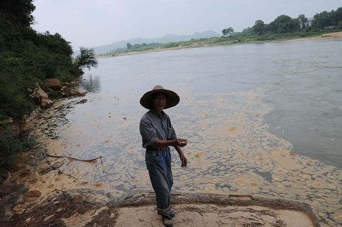 Polluted Le'an River which passes through Dai village