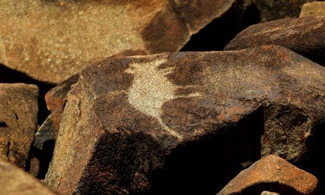 A paleolithic rock carving of a kangaroo on the Burrup peninsula