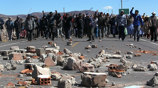Protest at Puno on Peruvian border