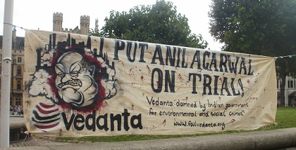 Banner at 2011 Vedanta London AGM