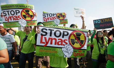 Protesters say the rare earth plant being built in eastern Malaysia poses a hazard from radioactive waste