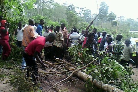 Demonstrators in Akyem against Newmont