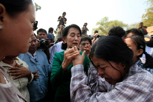 Daw Aung San Suu Kyi visited villages in central Myanmar on Thursday that might be displaced by a copper mine