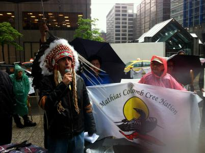 Chief Arlen Dumas of the Mathias Colomb Cree Nation confronts Hudbay