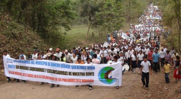 Thousands of residents of Rancho Grande march against B2Gold in Matagalpa, Nicaragua
